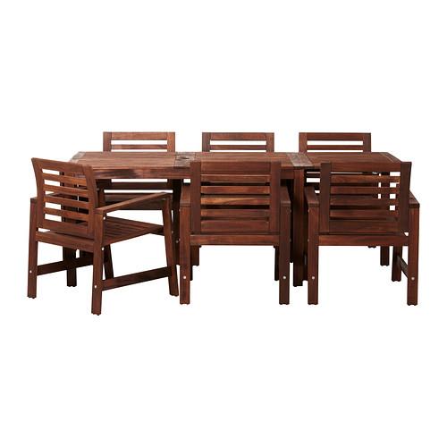 Ikea äpplarö Table6 Chaises Accoud Extérieur Teinté Brun