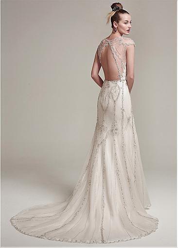 Stunning Tulle & Satin Jewel Neckline Mermaid Evening Dresses With Embroidery & Beadings