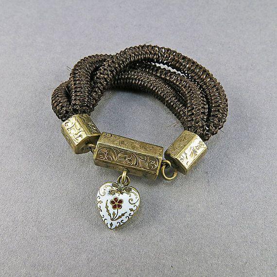 Victorian Antique Bracelet 9k Gold filled Hair by OldLockets