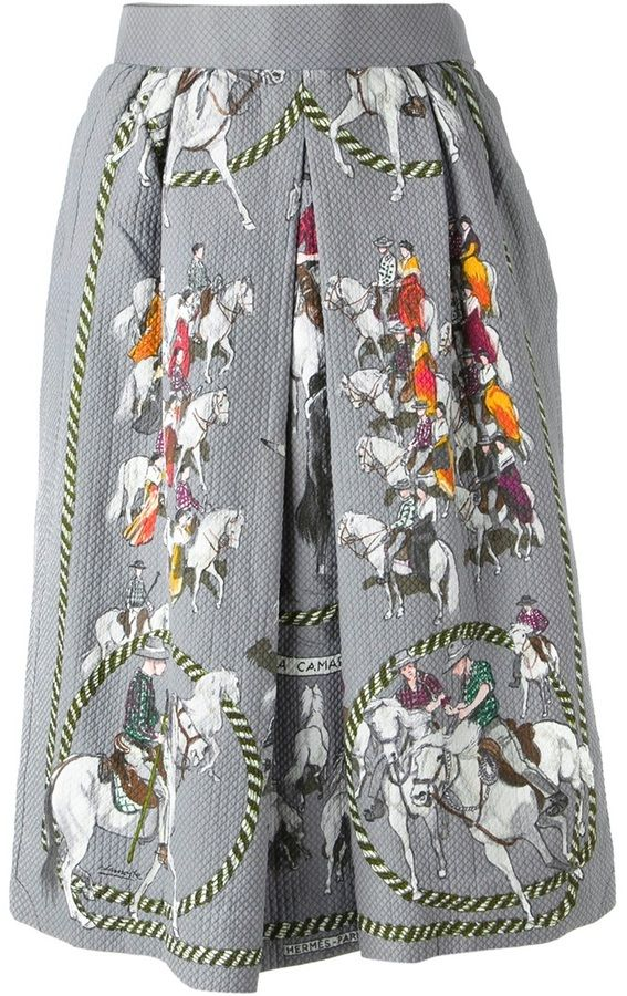Hermès Vintage horse riding print skirt