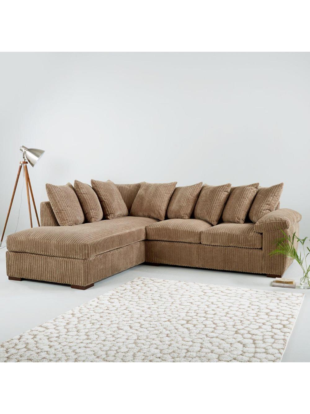 Amalfi Left Hand Scatter Back Fabric Corner Chaise Sofa Mocha Chaise Sofa Sofa Cushion Filling