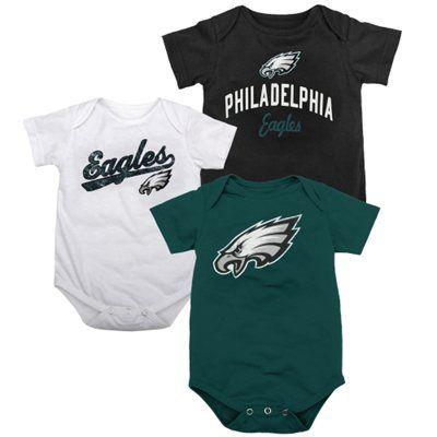 640b5a8a Philadelphia Eagles Newborn 3-Pack Team Creepers - Midnight Green ...