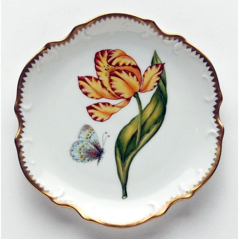 Anna Weatherley Old Master Tulips Yellow & Red Tulip Bread & Butter Plate