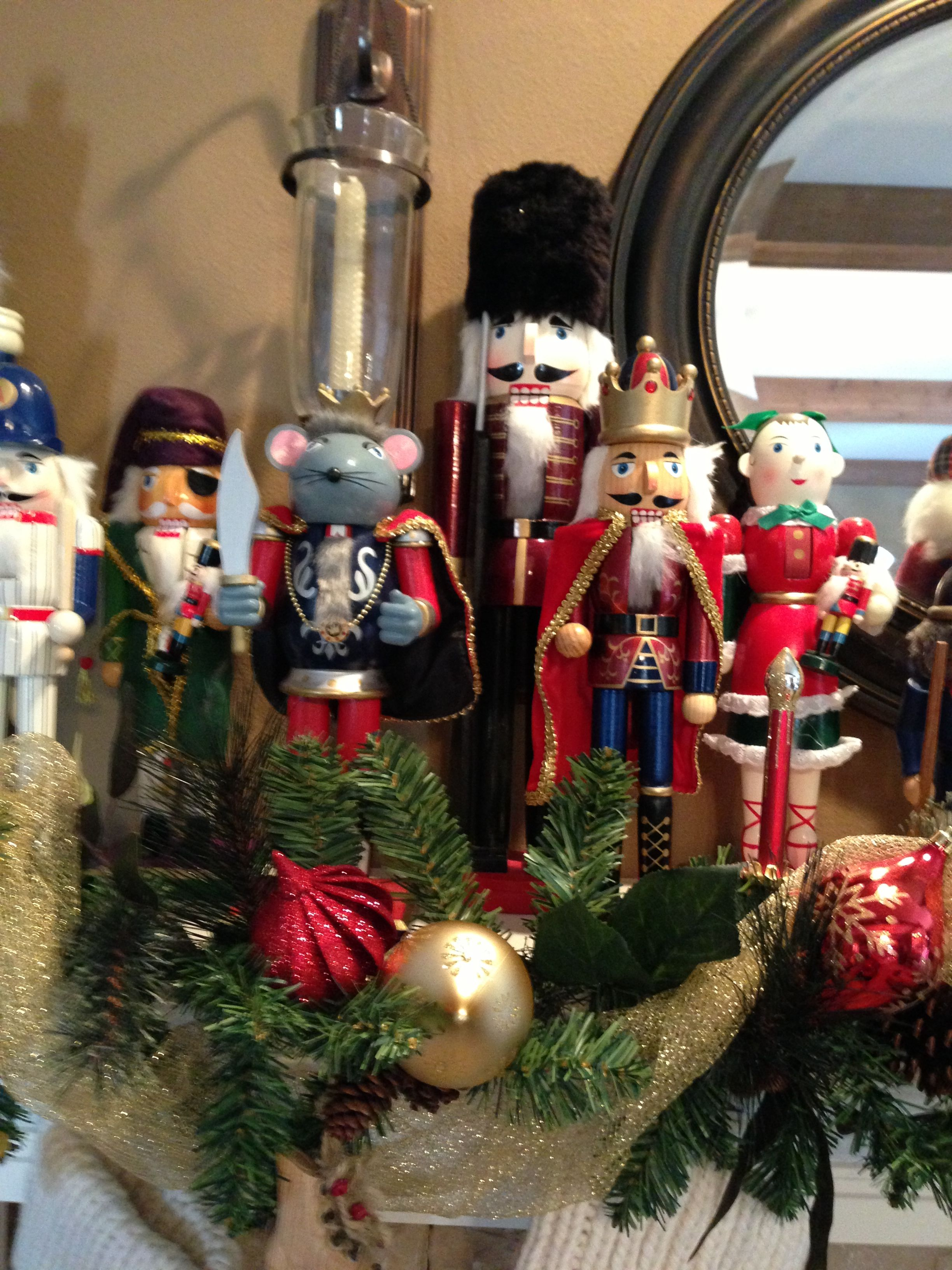 Nutcracker Tradition in our Family - I buy one to remember what my children have done that year ... Baseball - son was the slugger on his team, Mouse - our trip to Disney, king - love of playing Chess, rifle - dove hunting, girl - when we had a foster child, pirate - love of the Pirates of Caribbean movies... They enjoy waiting to see which one I will find next. I write their name and year on the bottom. They cover the whole mantle.