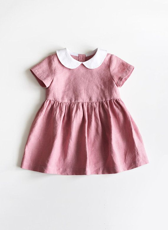 a703ad248 Baby Linen Dress, Toddler Linen Dress, Baby Girl Clothes, Rose Pink Baby  Dress, Peter Pan Collar, Wh