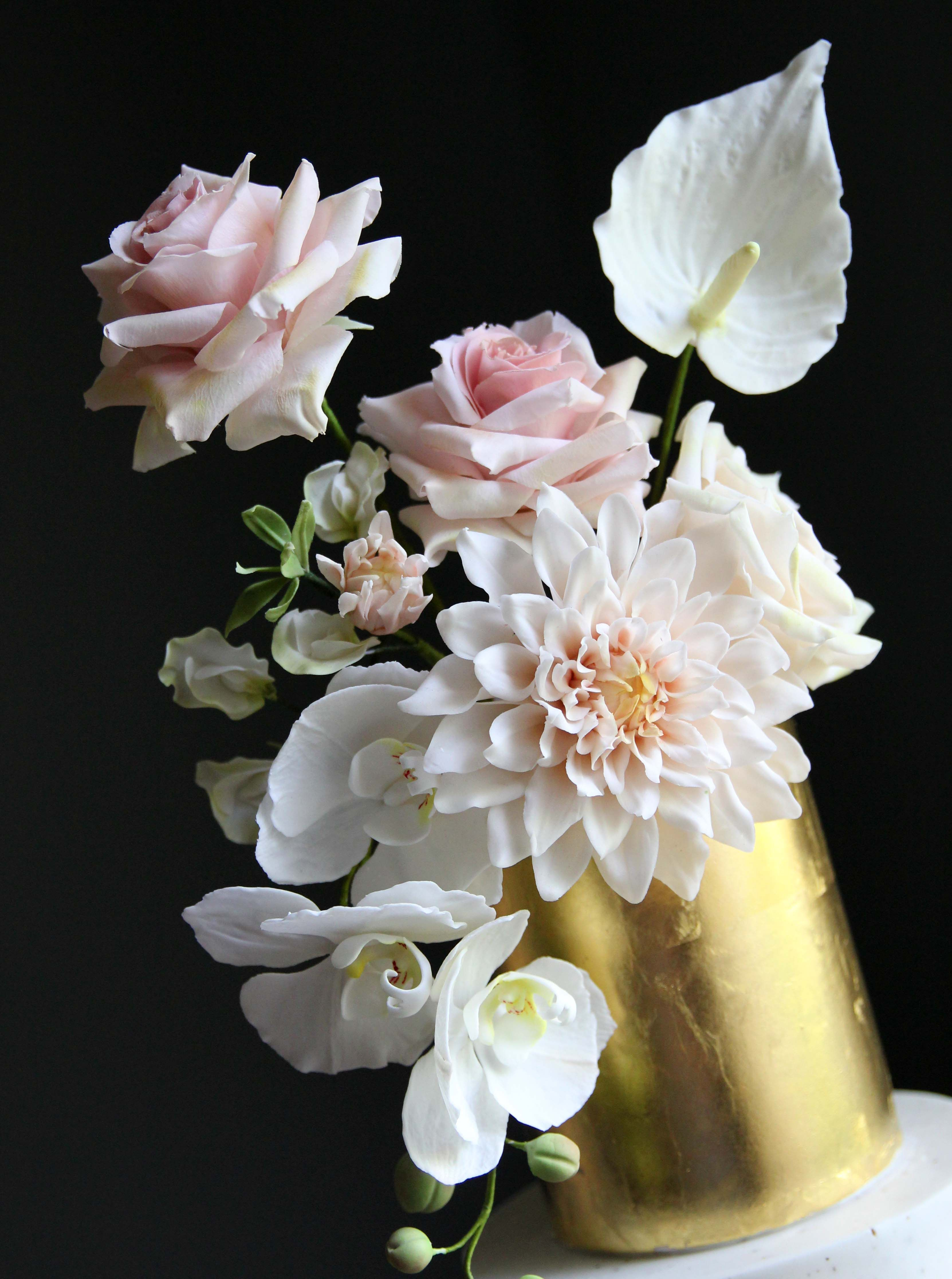 Gorgeous and soft modern sugar flowers including open rose ...