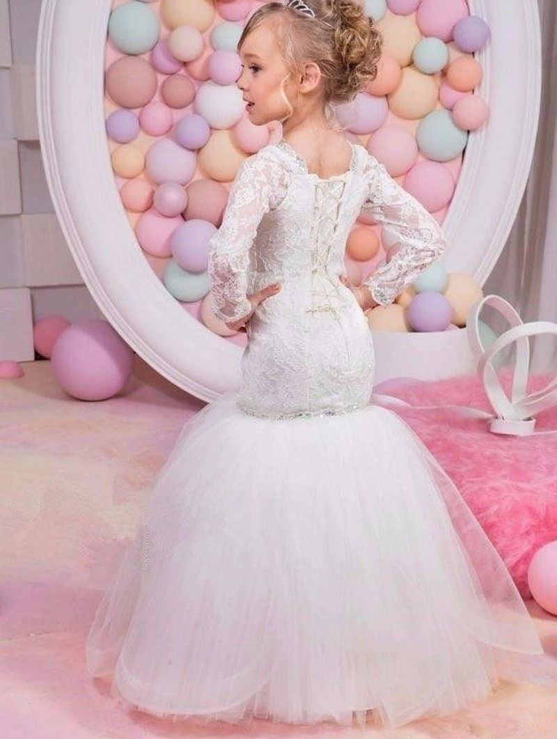 9ec8ee2d2ae12 Lovely White Mermaid Flower Girl Dress Long Sleeve Lace First Communion  Dresses 53#flowergirldress #