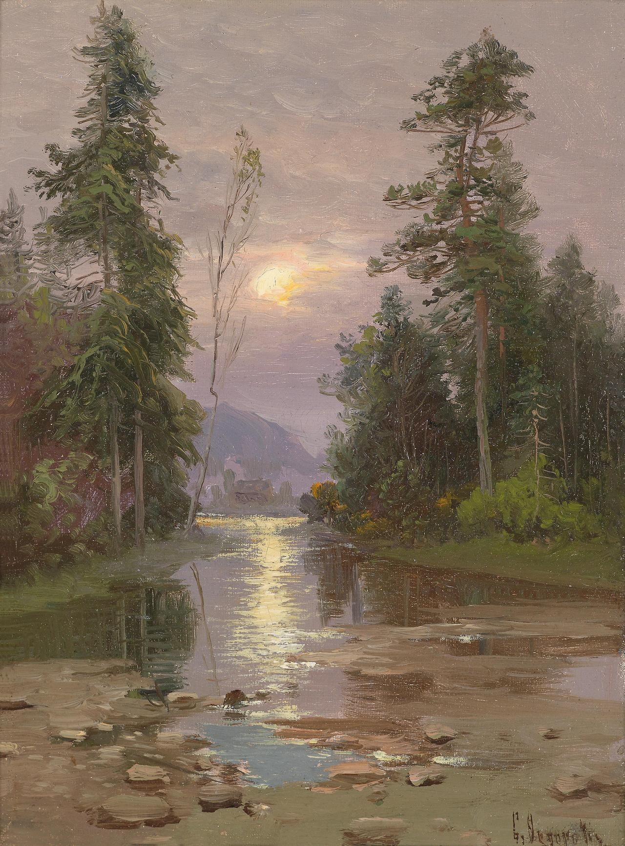 River Landscape In The Evening Light Simeon Fedorovich Fedorov Paisajes Pinturas