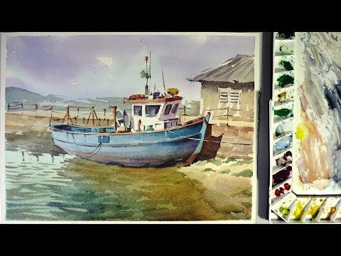 Boat On The Beach Step By Step Acrylic Painting On Canvas For
