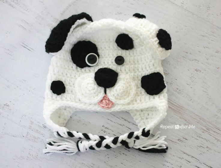 FREE Pattern - Repeat Crafter Me: Crochet Dalmatian Dog Earflap Hat ...