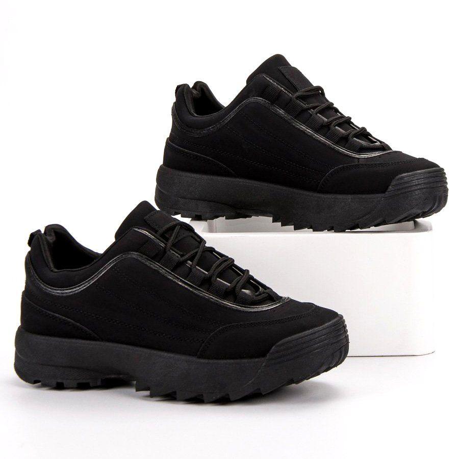 Sneakersy Na Platformie Czarne All Black Sneakers Sneakers Shoes