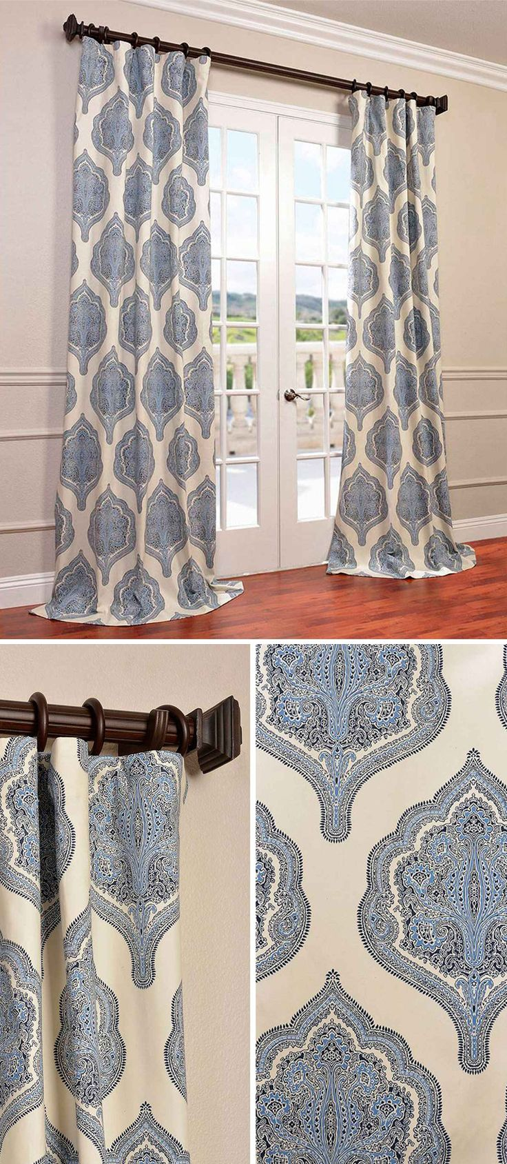 Half Price Drapes Arabesque Blue x Inch Curtain Single Panel