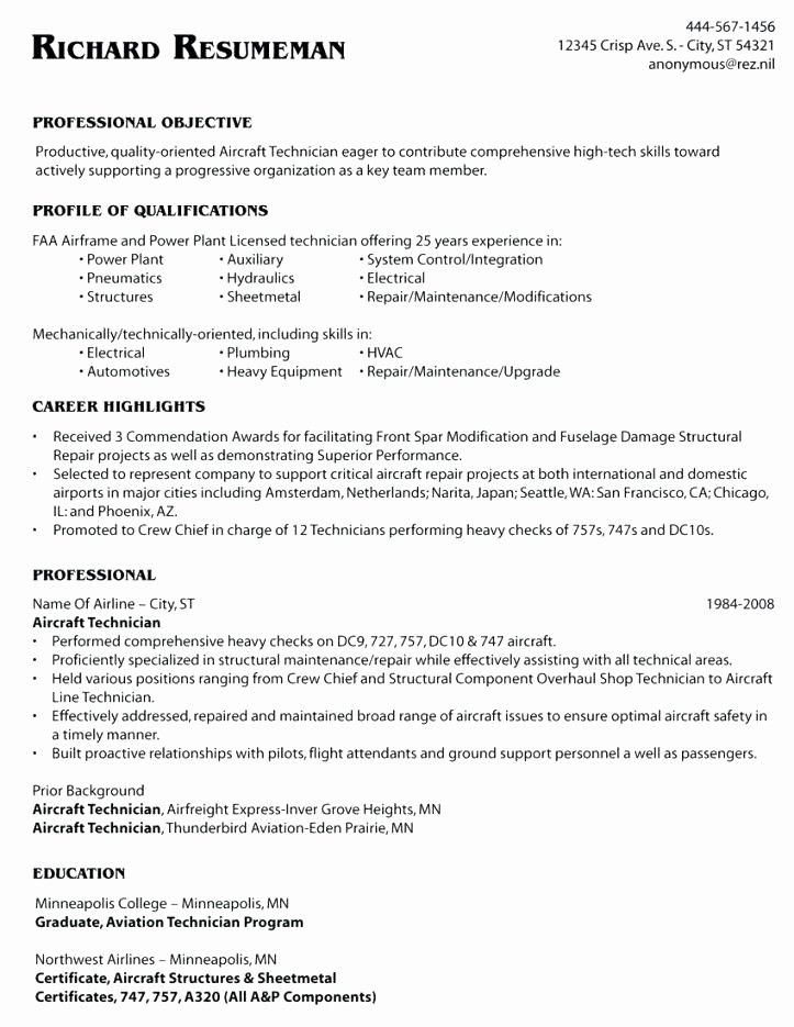 new aircraft mechanic resume template in 2020  aircraft