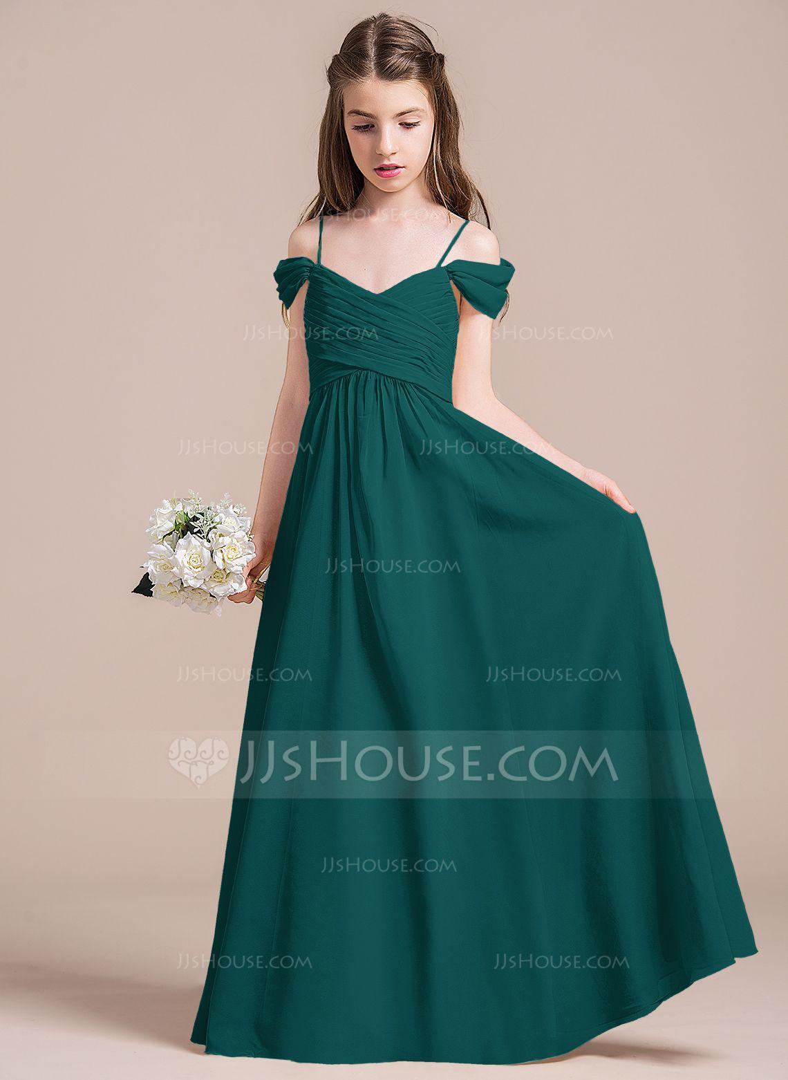 560ceabd78 A-Line Princess Off-the-Shoulder Floor-Length Chiffon Junior Bridesmaid  Dress With Ruffle (009087895) - Junior Bridesmaid Dresses - JJsHouse