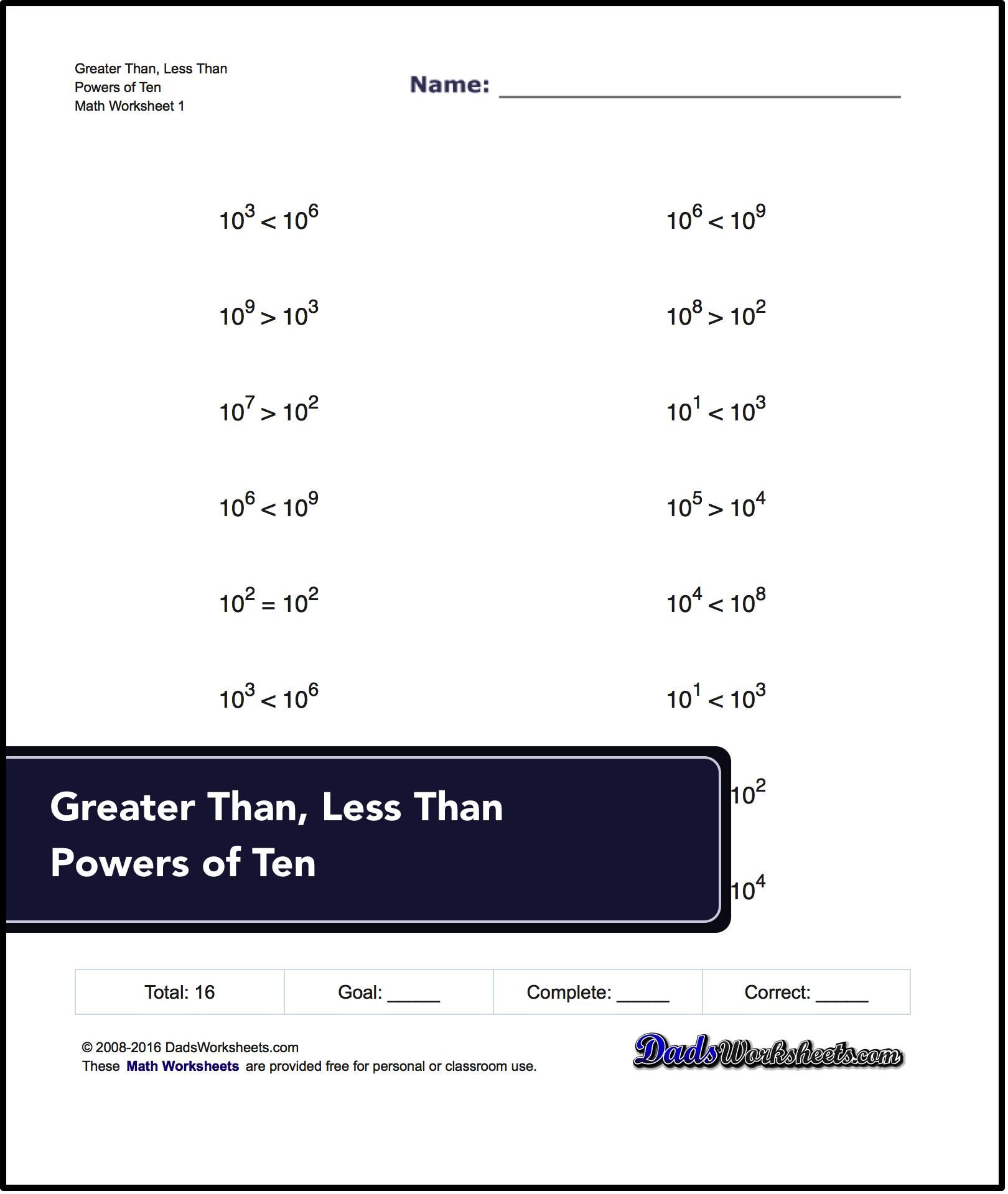 Uncategorized Maths Greater Than Less Than Worksheets greater than and less worksheets tests with power of ten