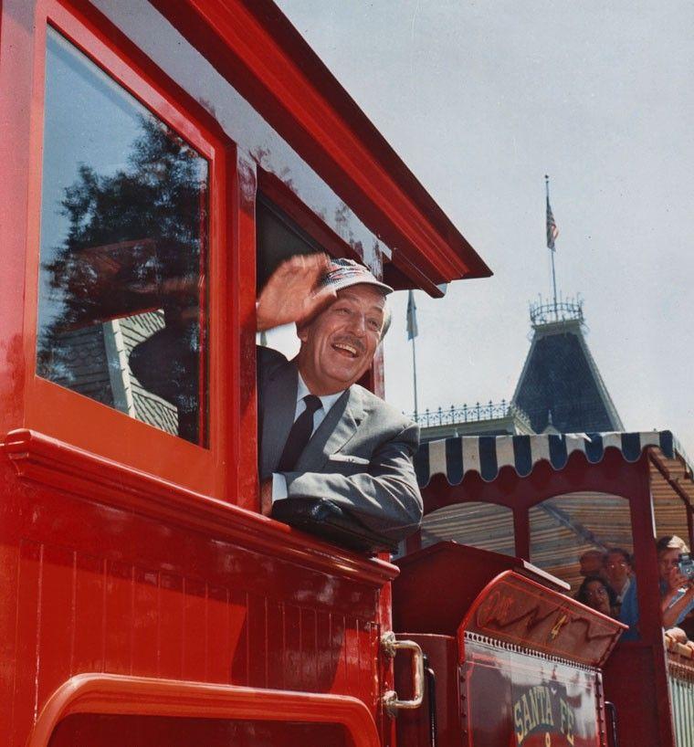 Walt Aboard Disneyland's Main Street Train