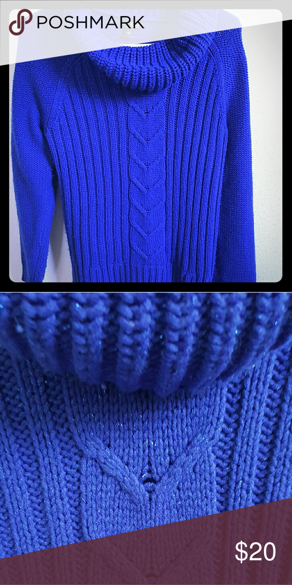 Gorgeous royal blue cowl neck sparkle sweater L These pics just don't do justice to the beautiful blue in this sweater. There's a slight blue sparkle woven in that's not showing up as well. Soft, super cozy, and warm! Size L with a bit of extra room for added coziness ?? a.n.a Sweaters Cowl & Turtlenecks