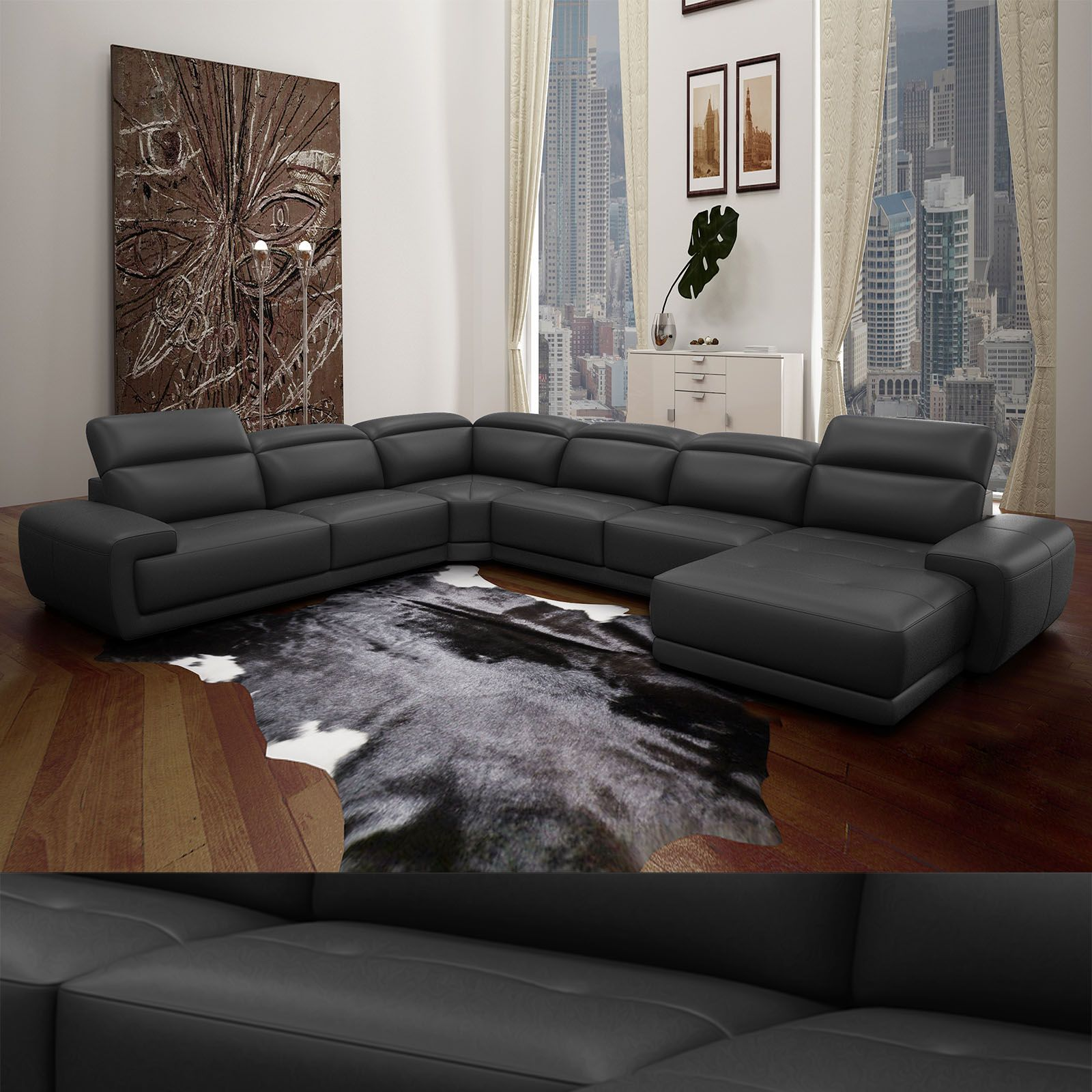 echt leder wohnlandschaft nelson sofa in u form und verstellbaren kopfst tzen schwarz modern. Black Bedroom Furniture Sets. Home Design Ideas