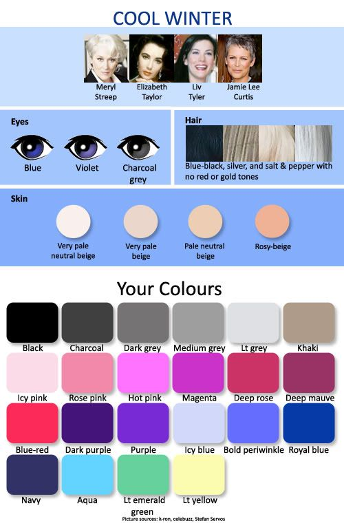 Color Complexion Chart For Dark Hair Colors Cool Winter Color Palette Winter Skin Tone Which Hair Colour