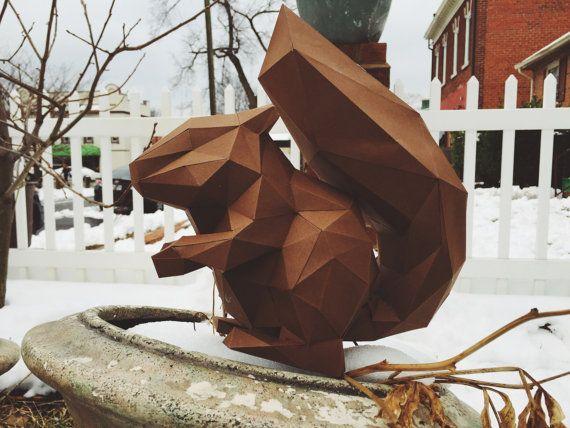 Squirrel papercraft model DIY template | Sculpture | Pinterest ...