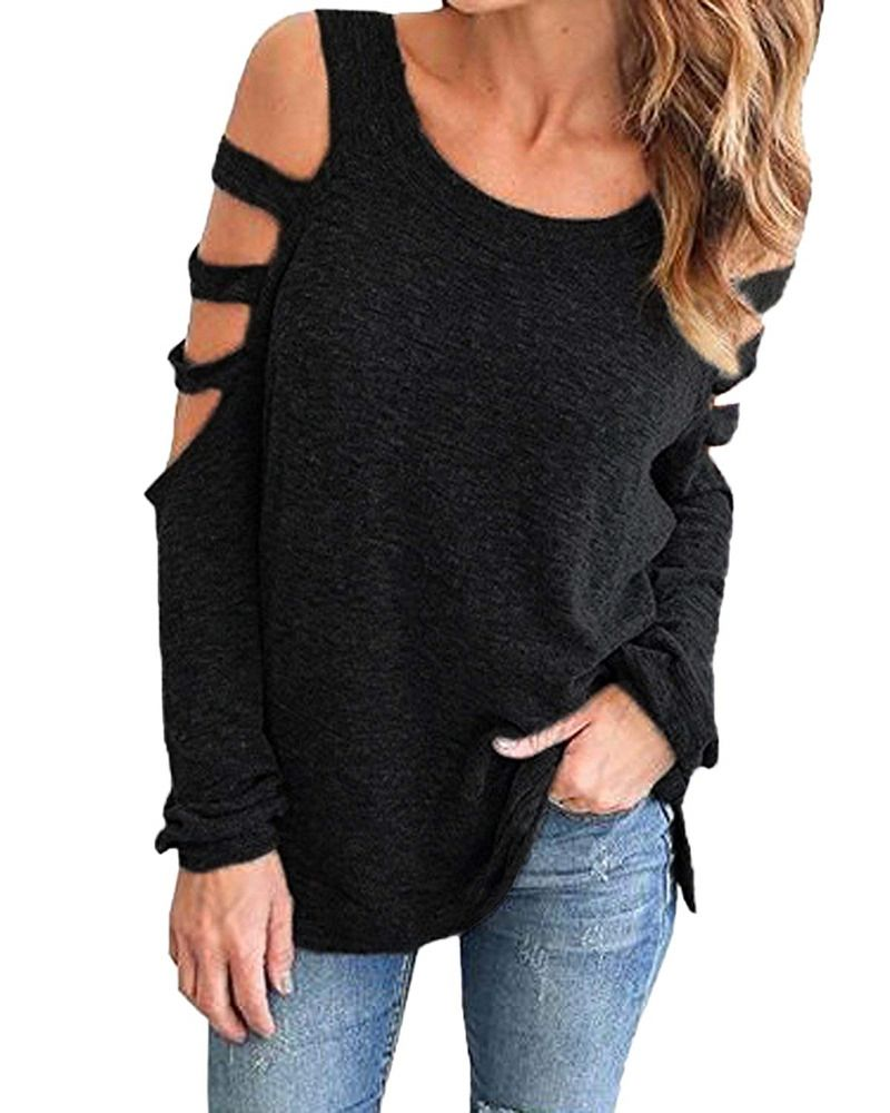 802cb9cc4a0d Auxo Women Cold Shoulder Tops Sexy Cut Out Shirt Slit Long Sleeve Blouse  A-Black