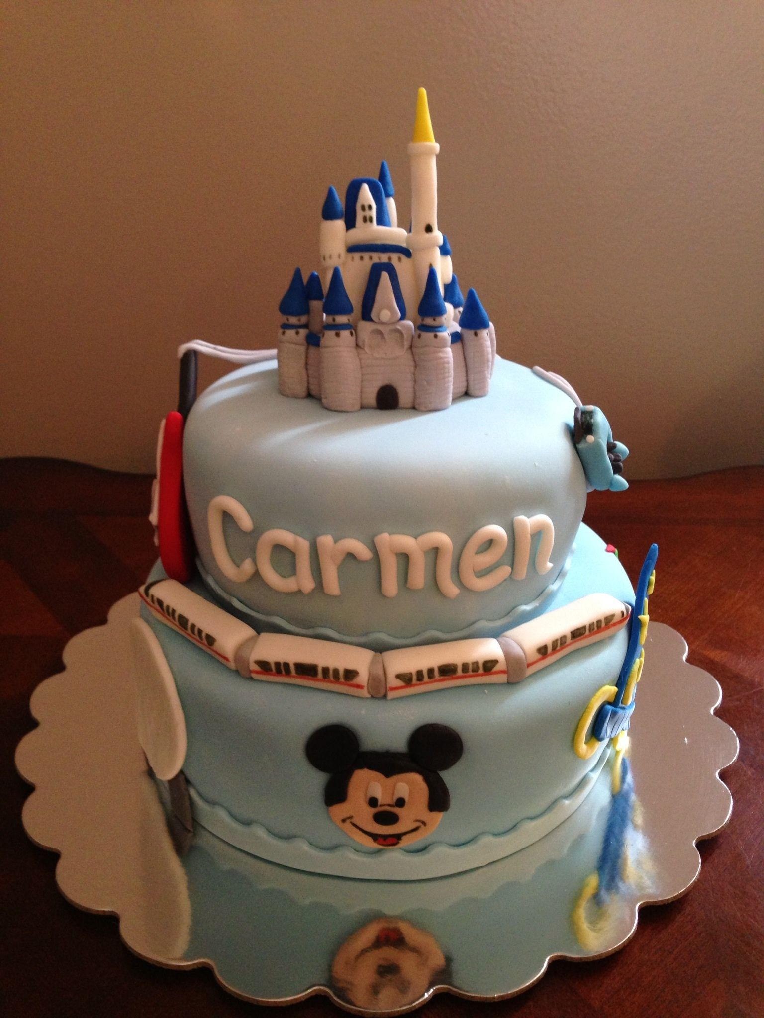 Pleasing Walt Disney World Theme Tiered Cake With Images Disney World Funny Birthday Cards Online Alyptdamsfinfo