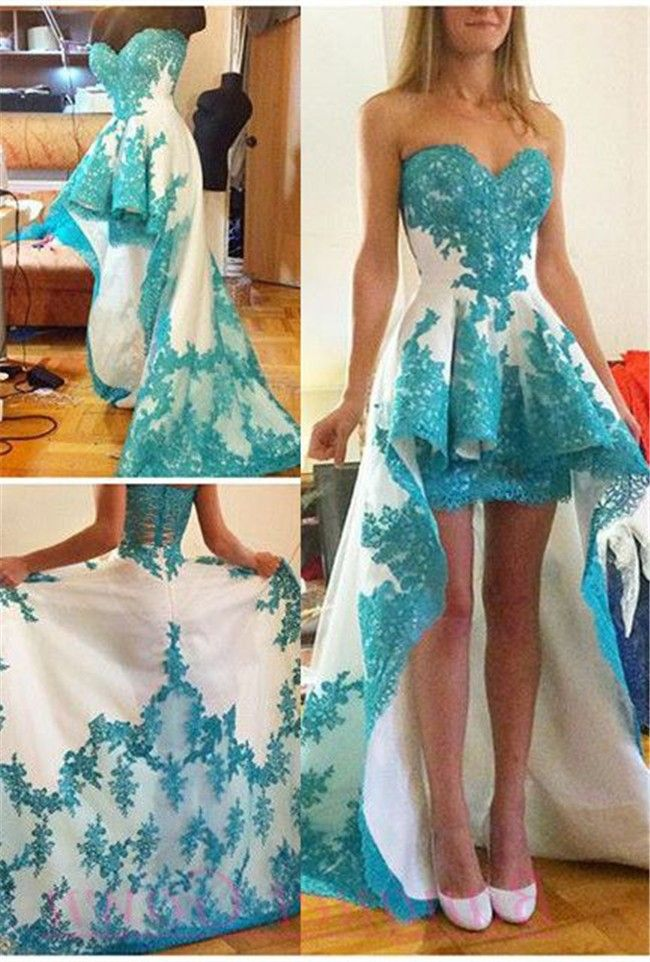 Teal Lace Prom Dress | Prom dresses