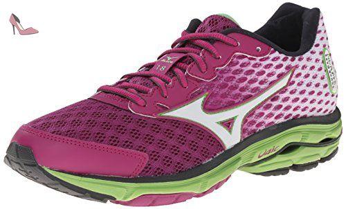 Mizuno Wave Rider 19, Chaussures de Running Compétition Femme - Rose - Pink (Fuchsia Purple/Silver/Royal Purple), 38.5 EU