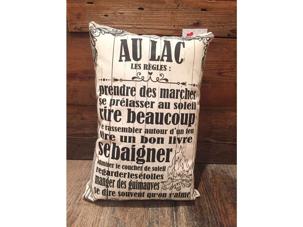 le coussin les r gles au lac 10 x16 fait avec amour au qu bec homestaging chalet. Black Bedroom Furniture Sets. Home Design Ideas