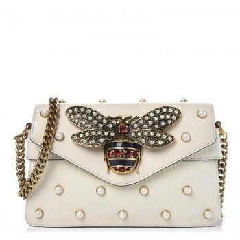 f51b542a32c GUCCI Calfskin Pearl Studded Mini Broadway Bee Shoulder Bag White 322185