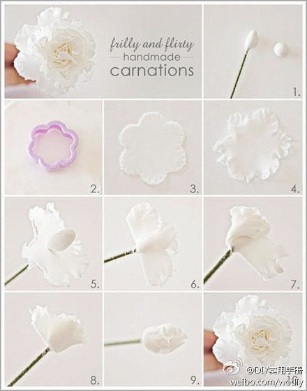 Wafer Paper Carnation Tut Rice Paper Flowers In 2019 Fondant