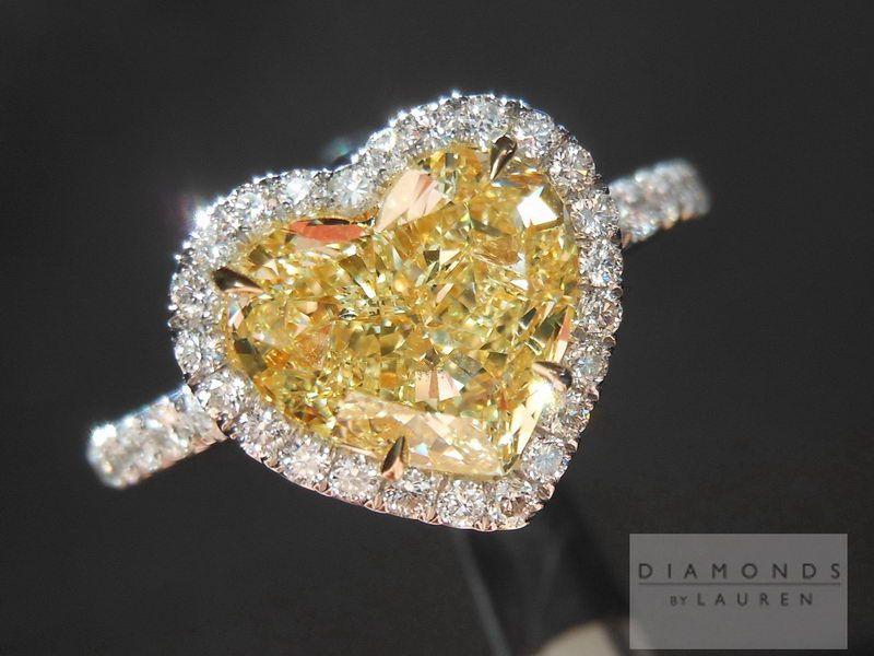 Yellow Diamond Ring Heart Shaped Diamond Ring Canary Yellow Diamond Ring Yellow Diamond Rings