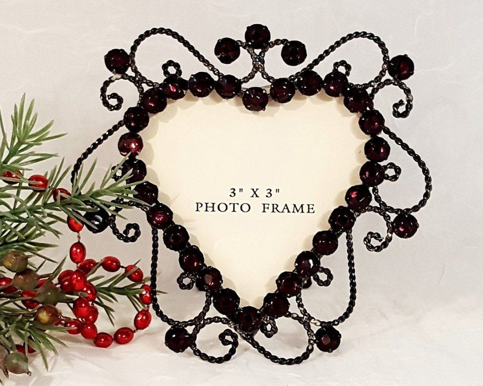 798 Small Heart Shaped Metal & Amethyst Jeweled Photo Frame ...