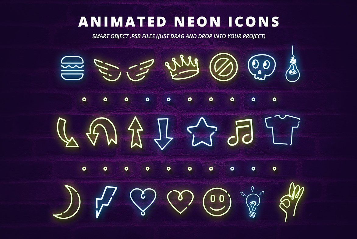 ANIMATED Neon Social Media Kit Media kit,
