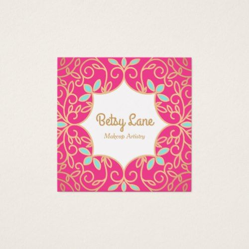 Cute pink rose gold swirls makeup artist square business card cute pink rose gold swirls makeup artist square business card stylist business card business cards reheart Choice Image