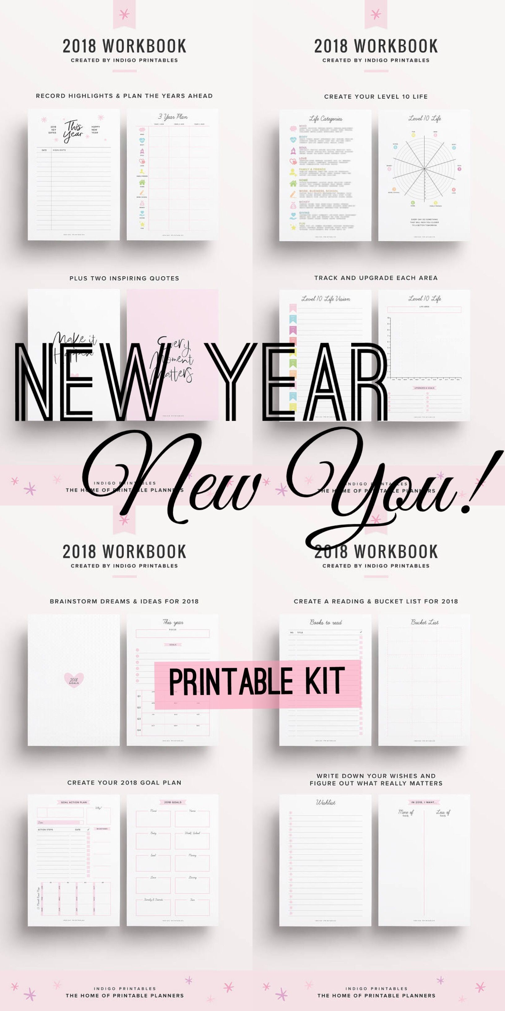 ad new year new you renew yourself with this fabulous 2018 workbook printable kit instant download create your new years resolutions and goals