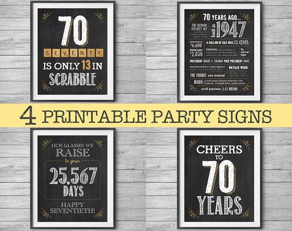 70th Birthday Printable Party Decor 4 Unique 8x10 Signs By Nvitecp Anniversary 1947 Sign