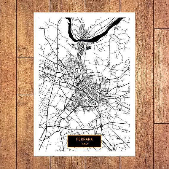 FERRARA Italy CANVAS Large Art City Map Ferrara Italy Art Print
