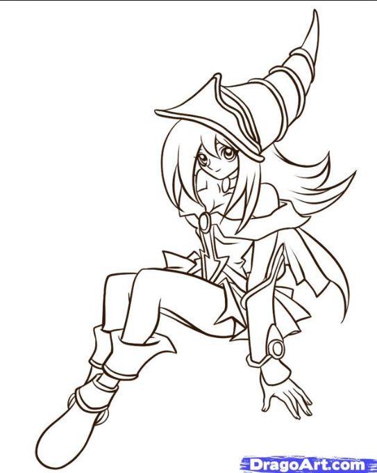 Kleurplaten Yu Gi Oh.Dark Magician Girl Drawing Yugioh Pokemon Coloring Pages