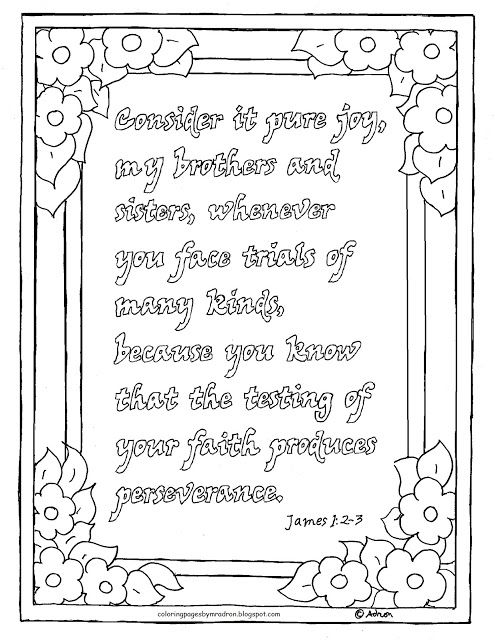 Coloring Pages for Kids by Mr. Adron: Printable James1:2-3 Consider ...