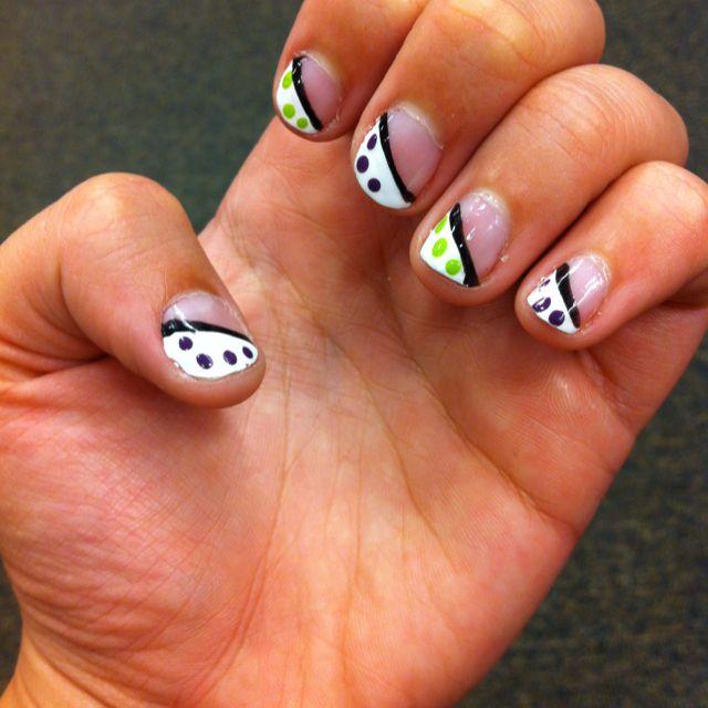 French tip, polka dots, purple, green, manicure, nail art, | Nail ...