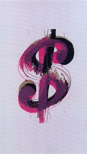"""<달러 사인 / 1981 / 캔버스에 아크릴과 실크 스크린>    앤디워홀은, """"나는 돈을 사랑한다. 나는 돈을 많이 벌고 싶다."""" 며 '달러'를 소재로 한 작품을 많이 만들었다.  그는 일생동안 돈에 강하게 집착했으며, 그에 대한 욕구를 숨기지 않았다.    배경색은 미국지폐를 의미하는 그린색(당시 미국 지폐는 녹색계열)으로 칠했다.     그의 돈에 대한 집착은 체코슬로바키아에서 미국으로 이주해 온 노동자 가정의 셋째 아들로 태어나,     대공황 시기를 겪으며 가난한 어린 시절을 보냈던 그의 성장배경이 크게 작용했다는 추측도 있다."""
