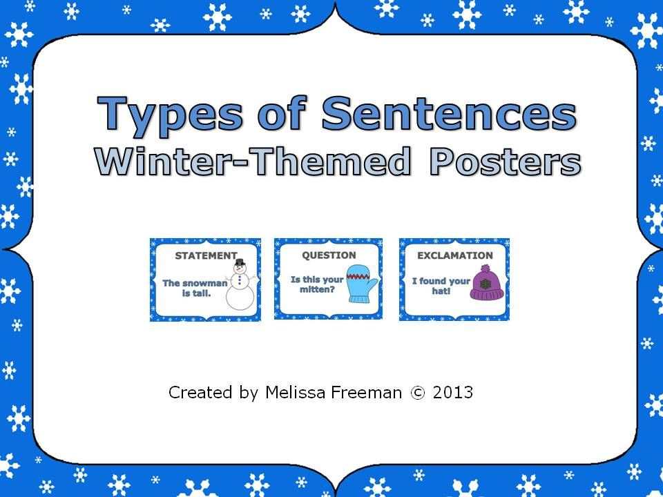 Free! Three posters showing the types of sentences