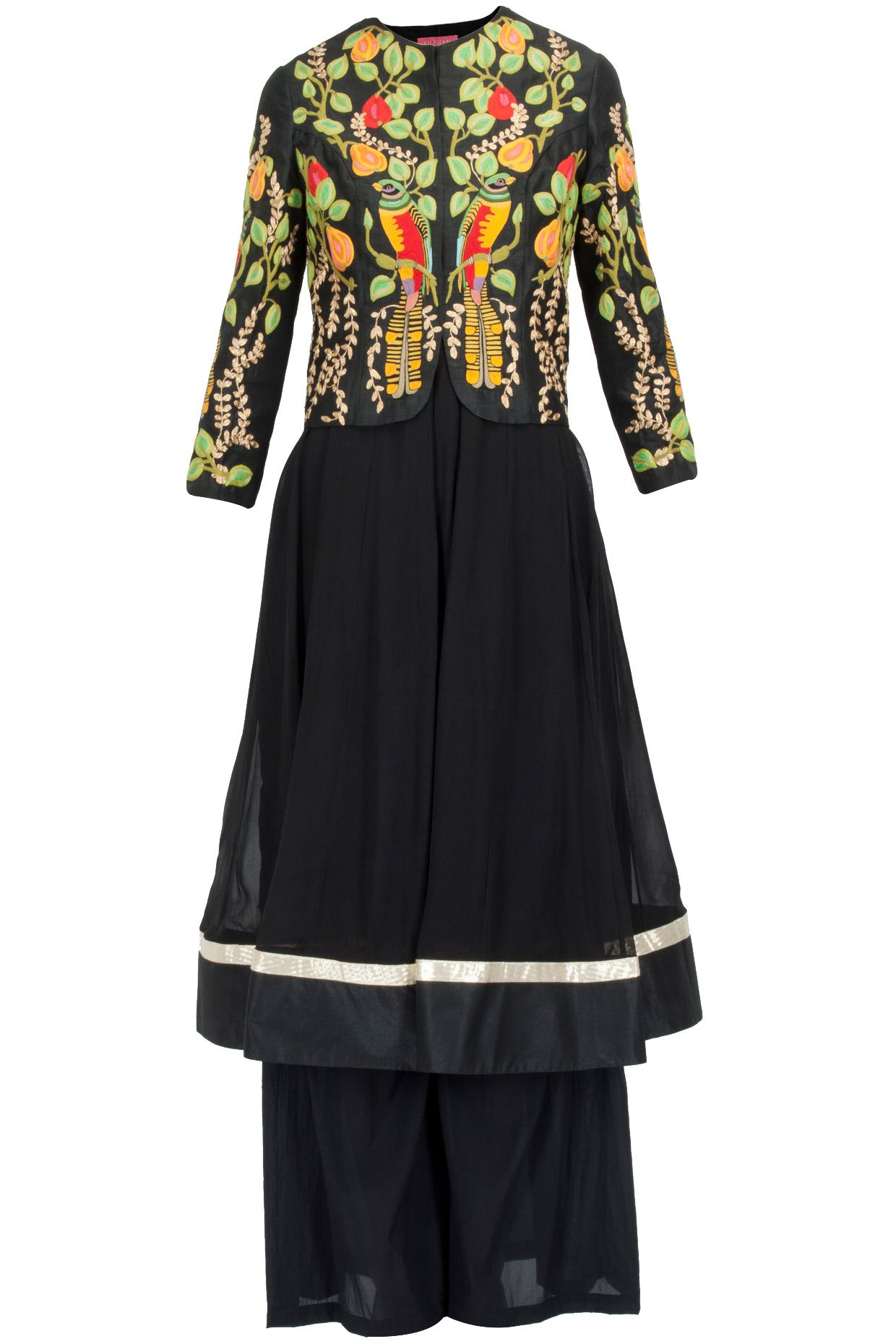 Black anarkali set with forest embroidered jacket available only at Pernia's Pop-Up Shop.