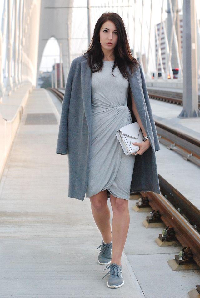 Women's Grey Coat, Grey Sheath Dress, Grey Low Top Sneakers, White ...