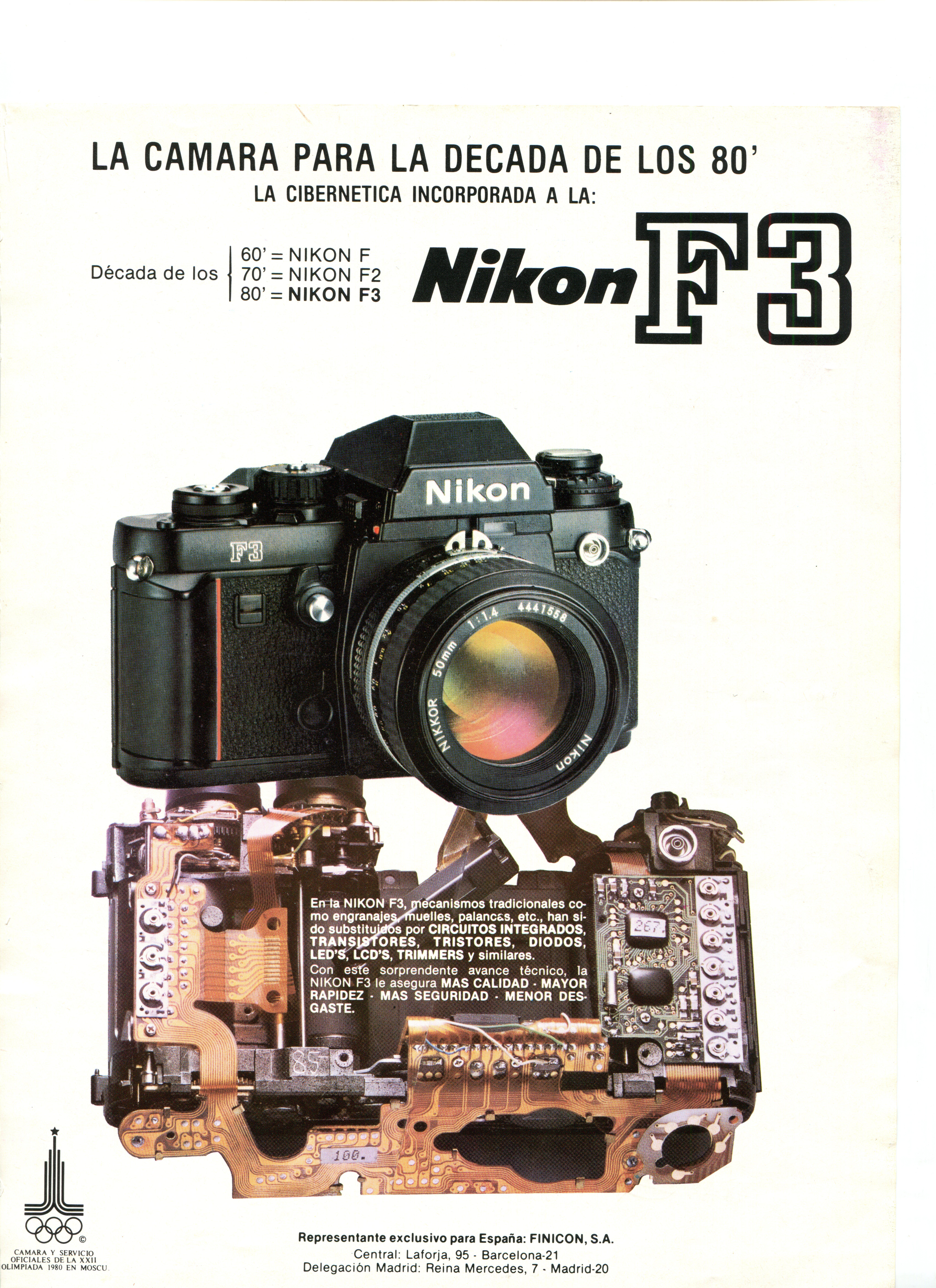 Nikon F3 Original Vintage Revista Publicidad década de 1980