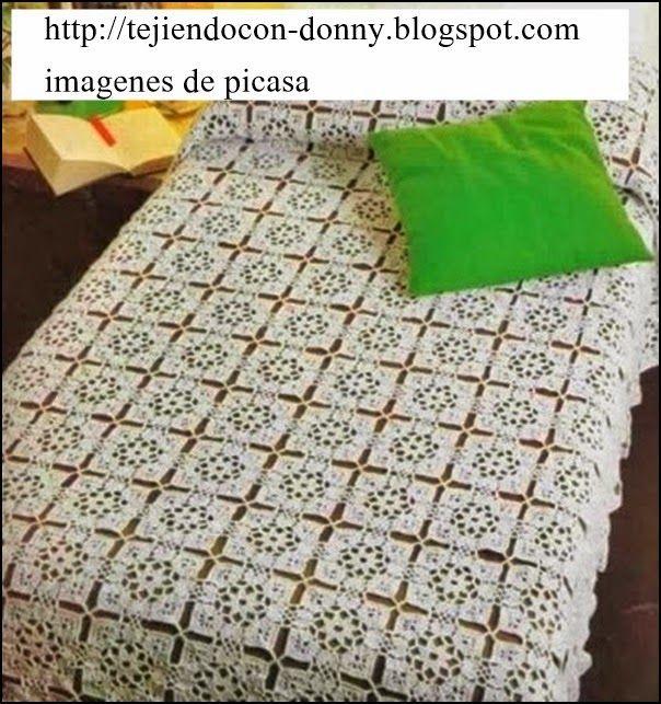 Tejidos a crochet ganchillo patrones cubrecama tejido for Cortinas de ganchillo