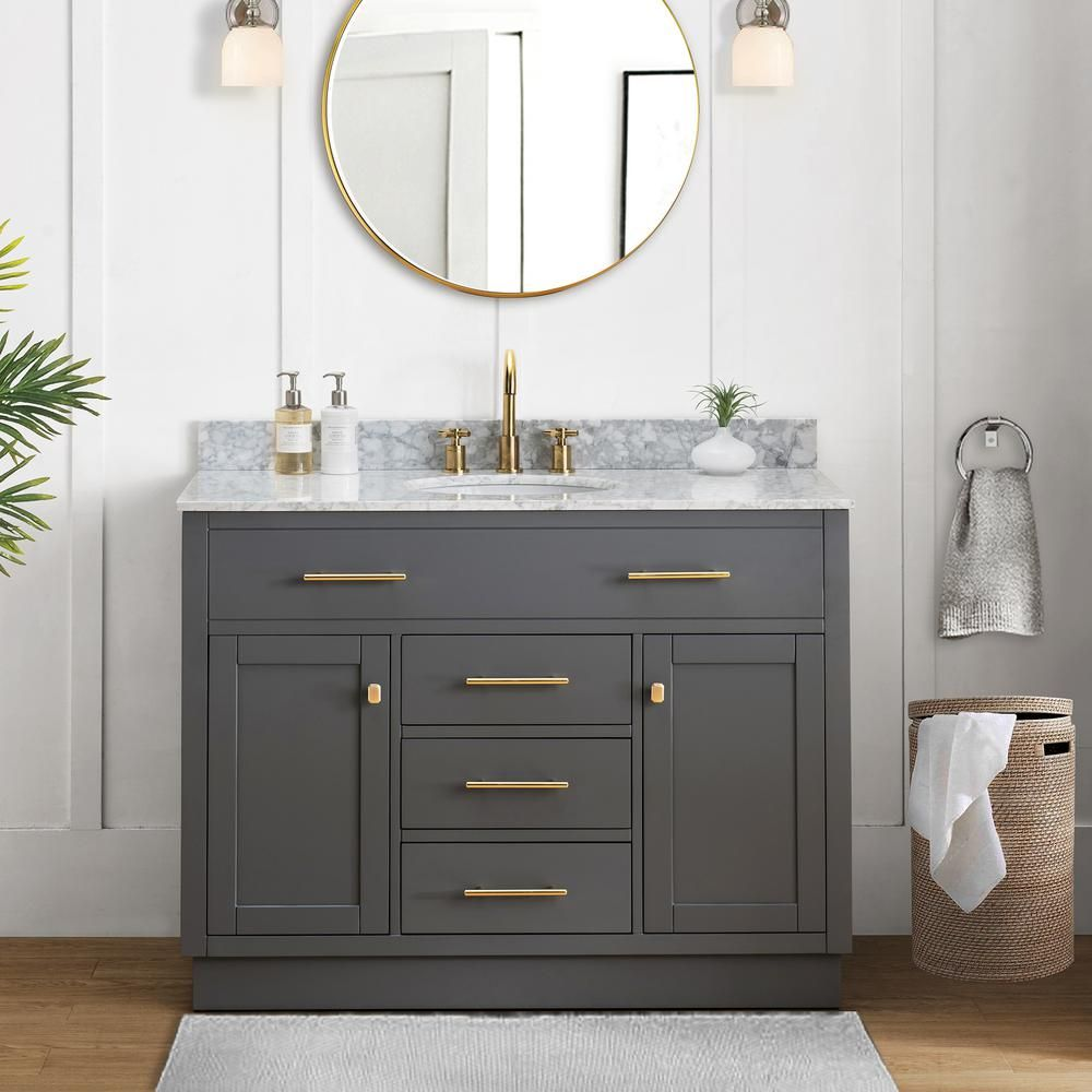Sunjoy Gaia Blue Gray 48 In W X 22 05 In D X 35 75 In H Shaker Style Bathroom Vanity With Marble Vanity Top And Single Basin B301010000 The Home Depot Bathroom