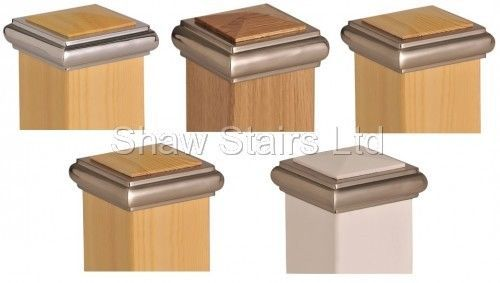 Best Axxy Solo Stair Post Caps Full Half Chrome Brushed 400 x 300