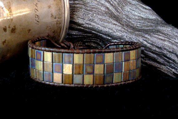 Brown Leather Wrap Bracelet with Metallic Tila Beads by beadbound,